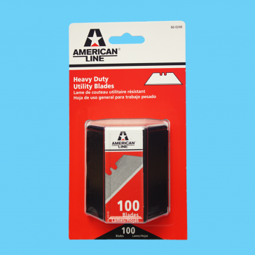American Line 66-0240 Heavy-Duty .025 Inch 2-notch Utility Blades With Dispenser