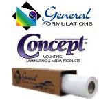 General Formulations Concept® 216 Calendered Gloss White Inkjet Vinyl With Black Permanent Adhesive 2 Year 3.2 Mil